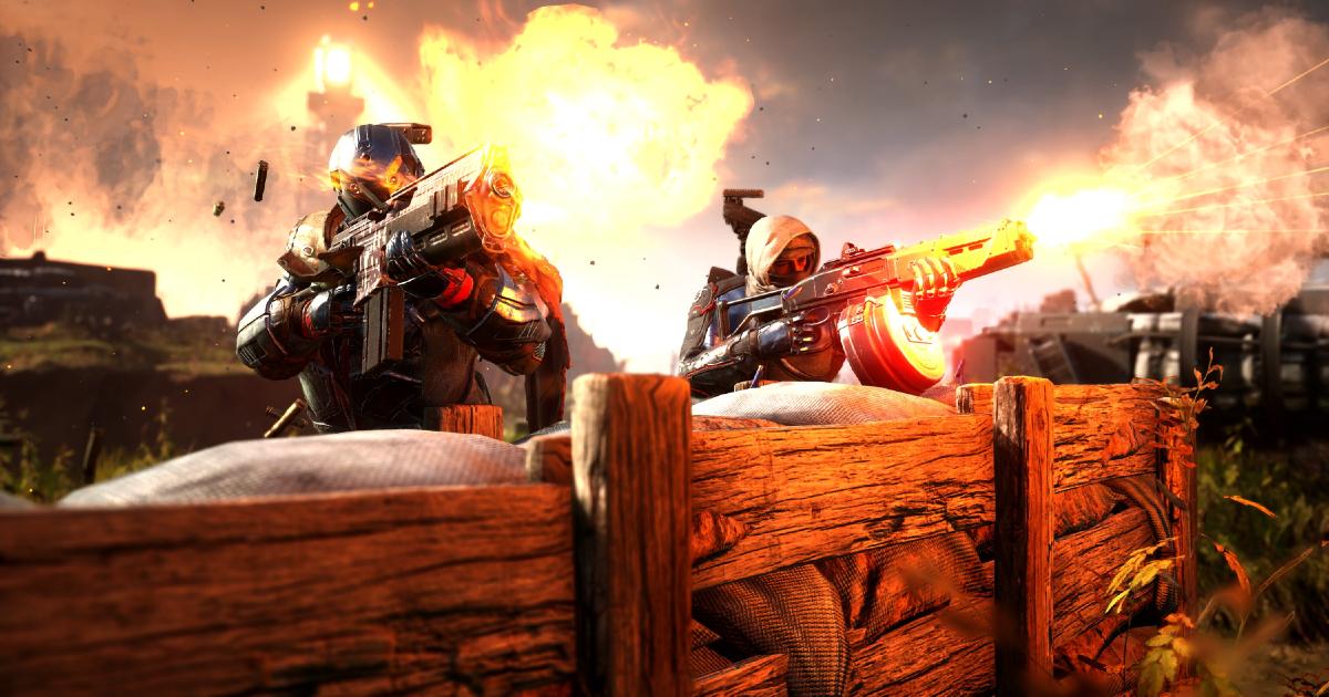 Due guerrieri fanno fuoco da dietro una barricata - nerdface