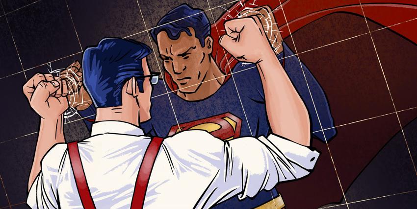 Clark Kent con i pugni sui uno specchio vede Superman nel proprio riflesso - nerdface
