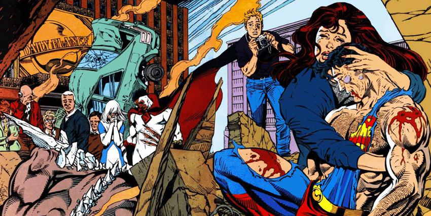 Una tavola dalla morte di Superman - nerdface