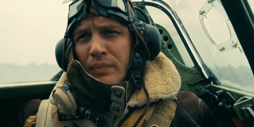 Primo piano di Tom Hardy in aereo in Dunkirk - nerdface