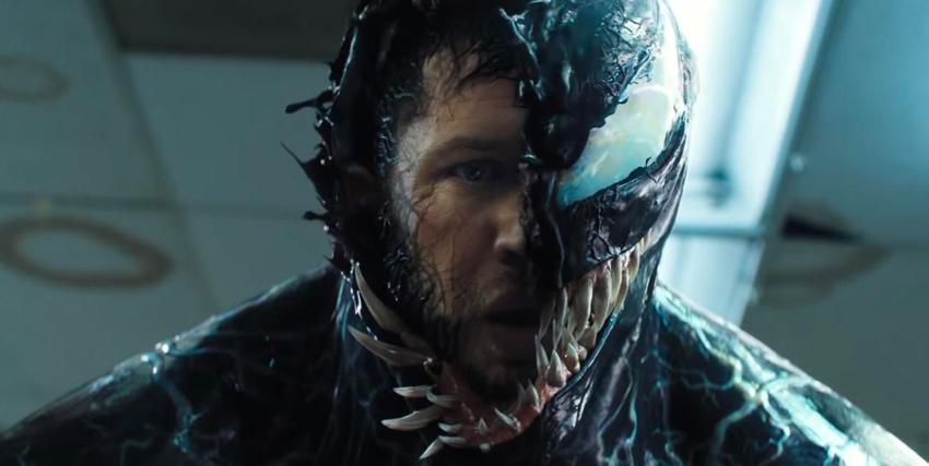 Primo piano di Tom Hardy nai panni di Venom - nerdface