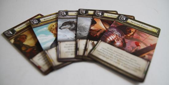 alcune carte speciali del gioco da tavolo de il trono di spade - nerdface