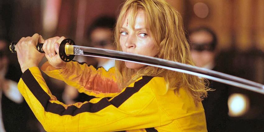 Uma Thurman con la katana in mano in Kill Bill - nerdface