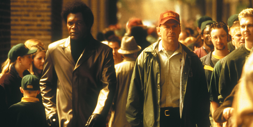 Bruce Willis e Samuel L. Jackson in Unbreakable - nerdface