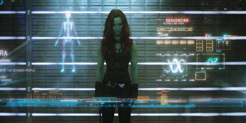 Zoe Saldana nei panni di Gamora ne I Guardiani della Galassia - nerdface