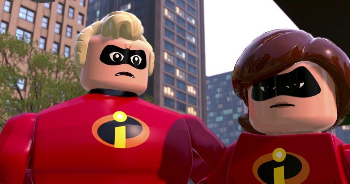 Primo piano di padre e madre della famiglia degli incredibili nel videogioco lego - nerdface