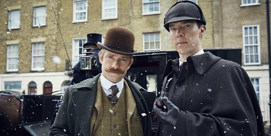 Primo piano di Sherlock holmes e John Watson - nerdface